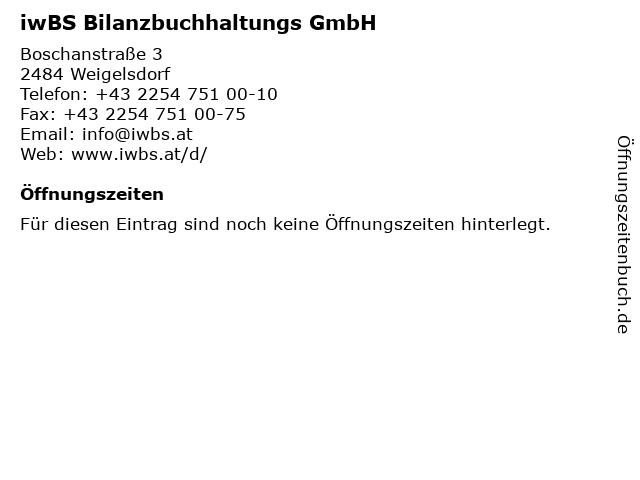 iwBS Bilanzbuchhaltungs GmbH in Weigelsdorf: Adresse und Öffnungszeiten