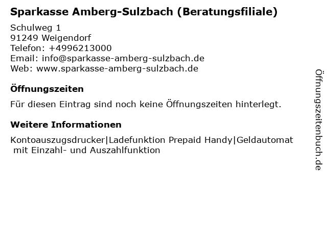 Sparkasse Amberg-Sulzbach in Weigendorf: Adresse und Öffnungszeiten