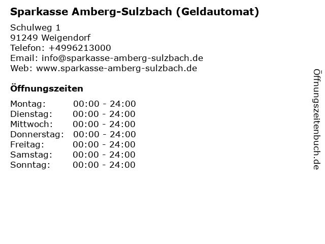Sparkasse Amberg-Sulzbach - (Geldautomat Filiale) in Weigendorf: Adresse und Öffnungszeiten