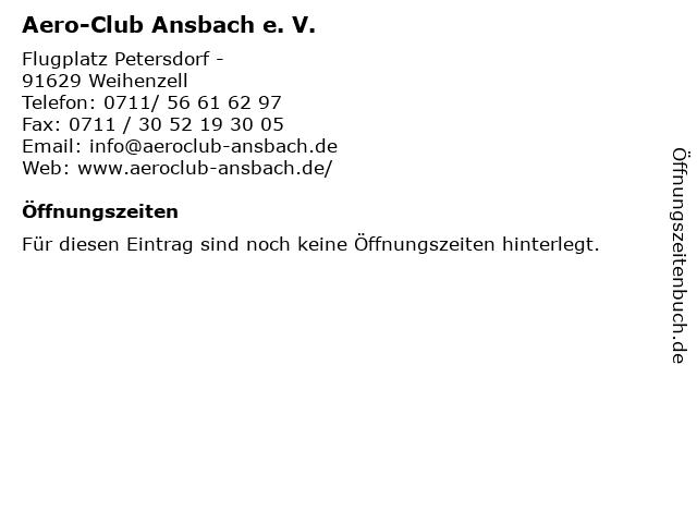 Aero-Club Ansbach e. V. in Weihenzell: Adresse und Öffnungszeiten