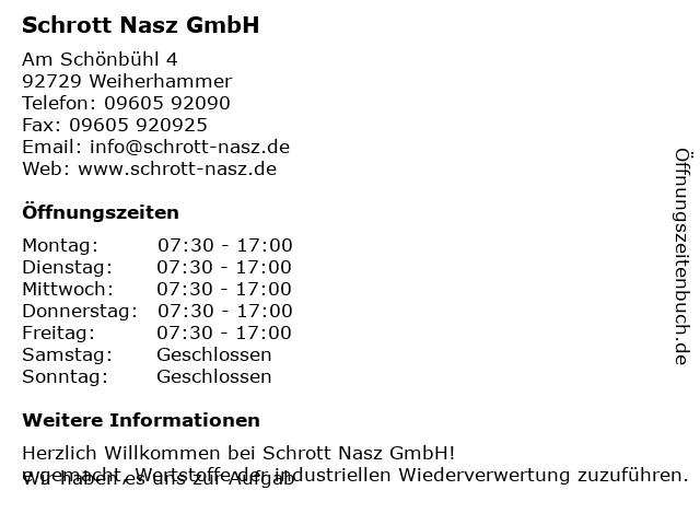 Schrott Nasz GmbH - Schrottannahme in Weiherhammer: Adresse und Öffnungszeiten