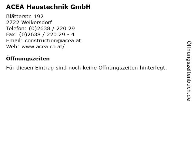 ACEA Haustechnik GmbH in Weikersdorf: Adresse und Öffnungszeiten