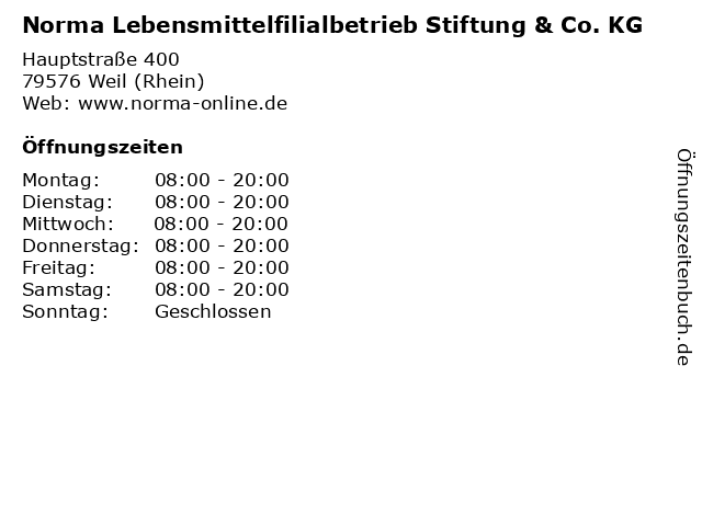 Norma in Weil (Rhein): Adresse und Öffnungszeiten