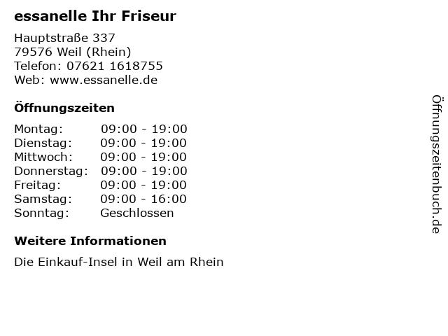 ᐅ öffnungszeiten Essanelle Ihr Friseur Hauptstraße 337 In Weil