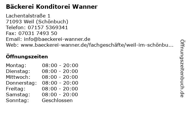 Bäckerei Konditorei Wanner in Weil (Schönbuch): Adresse und Öffnungszeiten