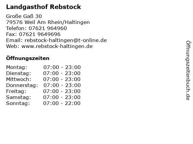 Landgasthof Rebstock in Weil Am Rhein/Haltingen: Adresse und Öffnungszeiten