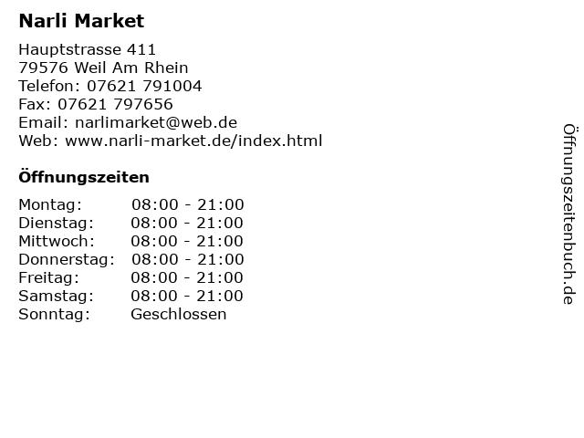 Narli Market in Weil Am Rhein: Adresse und Öffnungszeiten