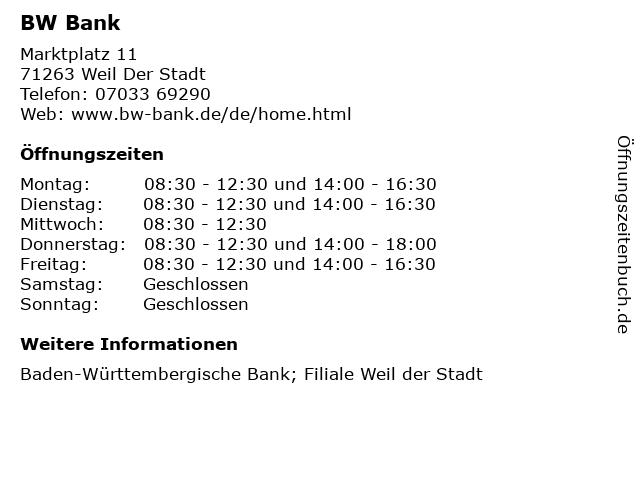 ᐅ öffnungszeiten Bw Bank Marktplatz 11 In Weil Der Stadt