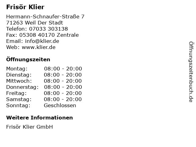 Frisör Klier GmbH in Weil Der Stadt: Adresse und Öffnungszeiten