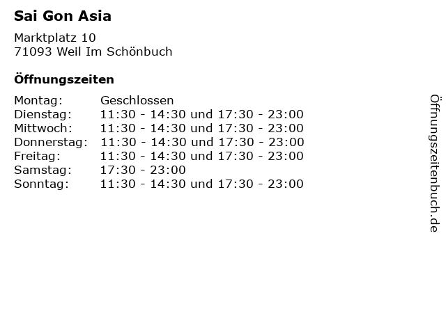 Sai Gon Asia in Weil Im Schönbuch: Adresse und Öffnungszeiten