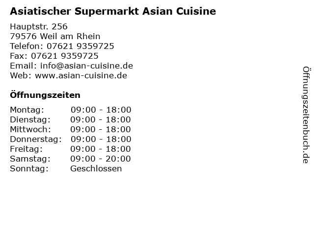 Asiatischer Supermarkt Asian Cuisine in Weil am Rhein: Adresse und Öffnungszeiten