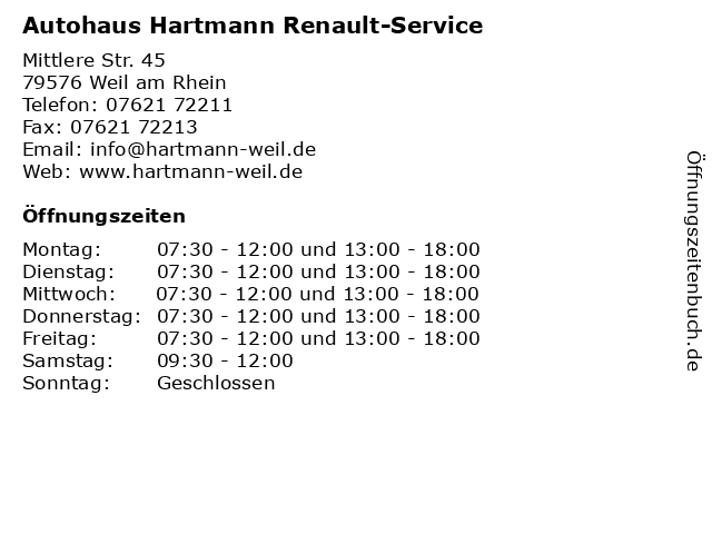Autohaus Hartmann Renault-Service in Weil am Rhein: Adresse und Öffnungszeiten