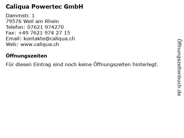 Caliqua Powertec GmbH in Weil am Rhein: Adresse und Öffnungszeiten