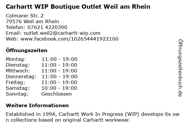 Carhartt WIP Outlet in Weil am Rhein: Adresse und Öffnungszeiten