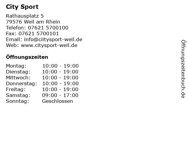 City Sport in Weil am Rhein: Adresse und Öffnungszeiten