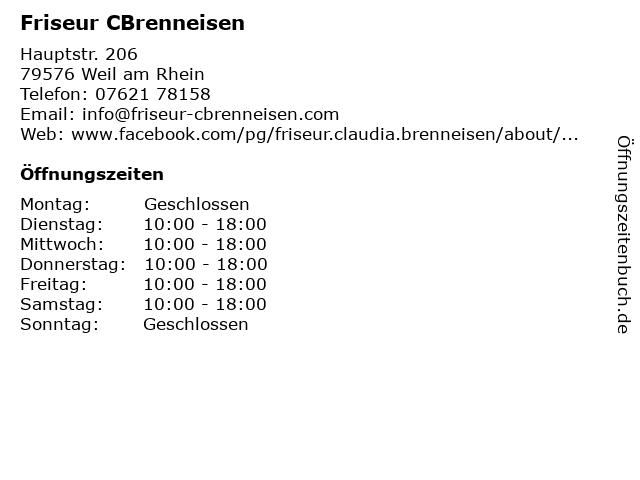 ᐅ öffnungszeiten Friseur Cbrenneisen Hauptstr 206 In Weil Am Rhein