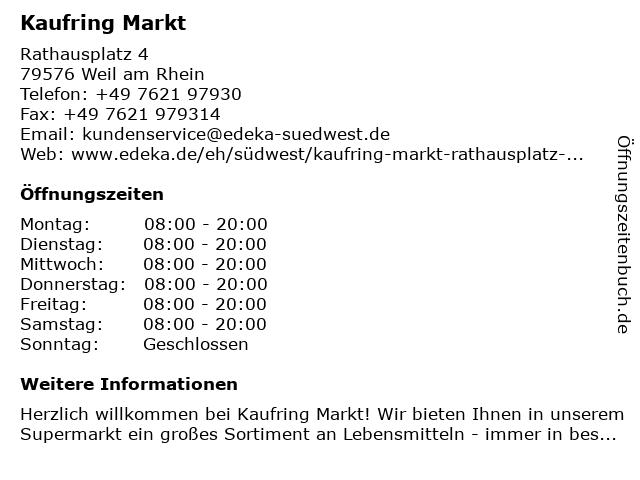 Kaufring Markt in Weil am Rhein: Adresse und Öffnungszeiten