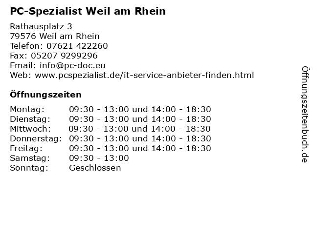 PC-Spezialist Weil am Rhein in Weil am Rhein: Adresse und Öffnungszeiten
