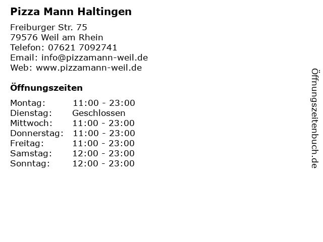 Pizza Mann Haltingen in Weil am Rhein: Adresse und Öffnungszeiten