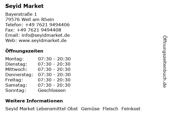 Seyid Market in Weil am Rhein: Adresse und Öffnungszeiten