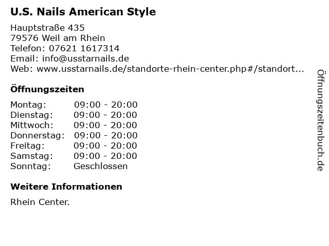 U.S. Nails American Style in Weil am Rhein: Adresse und Öffnungszeiten