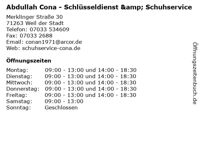 Abdullah Cona - Schlüsseldienst & Schuhservice in Weil der Stadt: Adresse und Öffnungszeiten