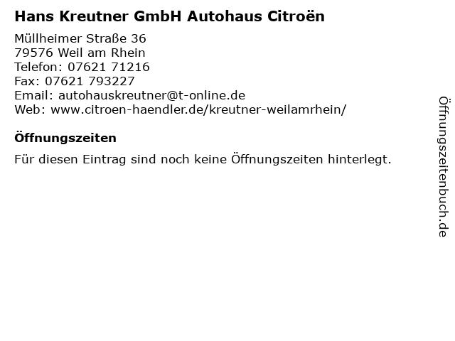 Hans Kreutner GmbH in Weil: Adresse und Öffnungszeiten