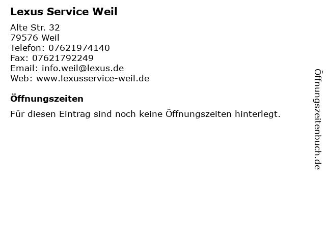 Lexus Service Weil in Weil: Adresse und Öffnungszeiten