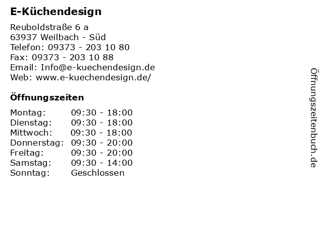 Á… Offnungszeiten E Kuchendesign Reuboldstrasse 6 A In Weilbach Sud
