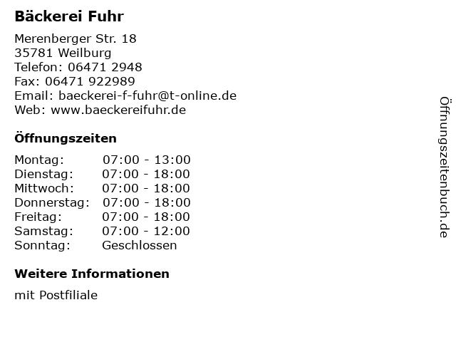 Bäckerei Fuhr in Weilburg: Adresse und Öffnungszeiten