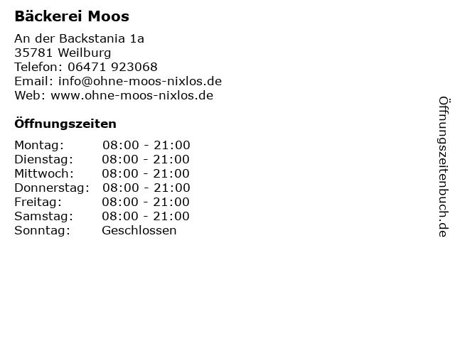 Bäckerei Moos in Weilburg: Adresse und Öffnungszeiten