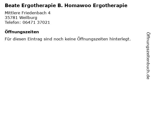 Beate Ergotherapie B. Homawoo Ergotherapie in Weilburg: Adresse und Öffnungszeiten