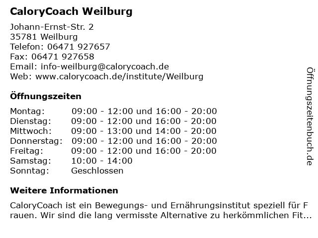 CaloryCoach Weilburg in Weilburg: Adresse und Öffnungszeiten