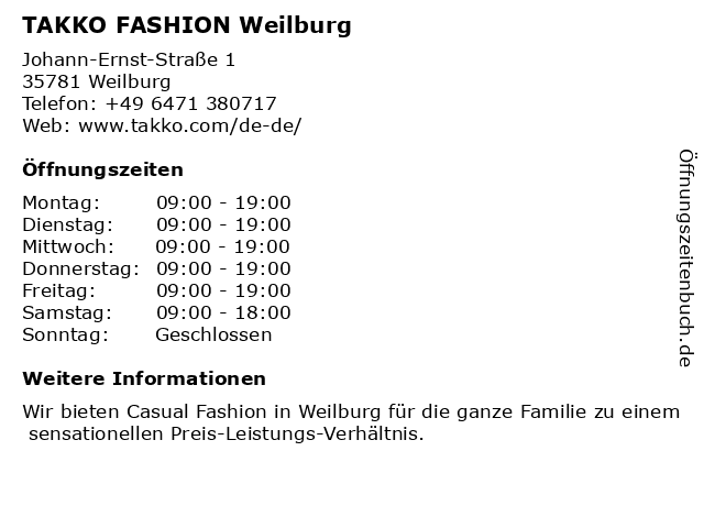 Takko Fashion in Weilburg: Adresse und Öffnungszeiten