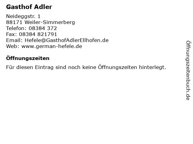 Gasthof Adler in Weiler-Simmerberg: Adresse und Öffnungszeiten