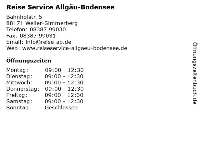 Reise Service Allgäu-Bodensee in Weiler-Simmerberg: Adresse und Öffnungszeiten