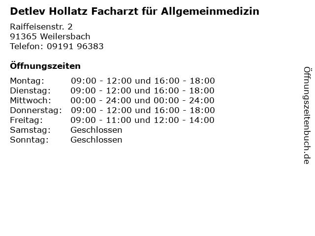 Detlev Hollatz Facharzt für Allgemeinmedizin in Weilersbach: Adresse und Öffnungszeiten