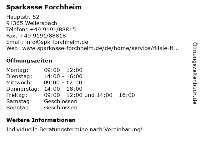 Sparkasse Forchheim in Weilersbach: Adresse und Öffnungszeiten