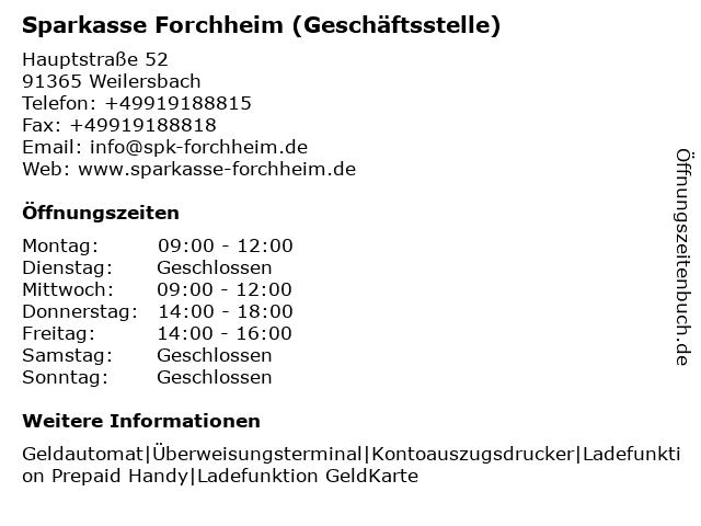 Sparkasse Forchheim - (Geldautomat Geschäftsstelle) in Weilersbach: Adresse und Öffnungszeiten