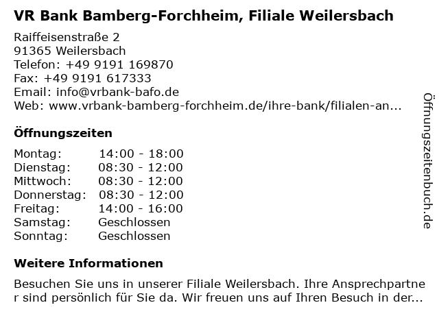 Volksbank Forchheim, Filiale Weilersbach in Weilersbach: Adresse und Öffnungszeiten