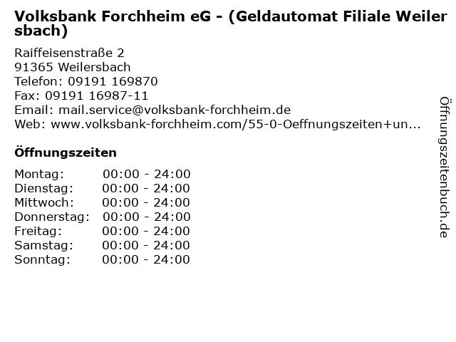 Volksbank Forchheim eG - (Geldautomat Filiale Weilersbach) in Weilersbach: Adresse und Öffnungszeiten