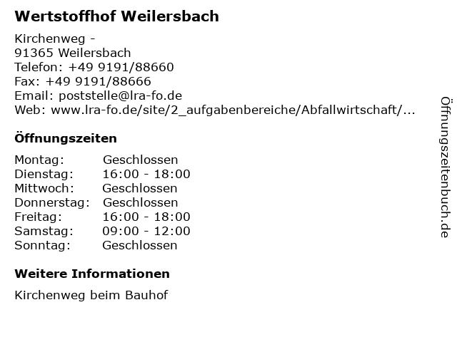 Wertstoffhof Weilersbach in Weilersbach: Adresse und Öffnungszeiten