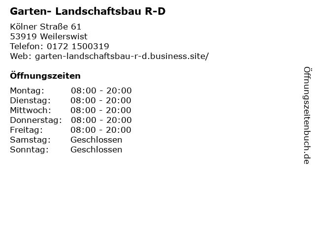 Garten- Landschaftsbau R-D in Weilerswist: Adresse und Öffnungszeiten