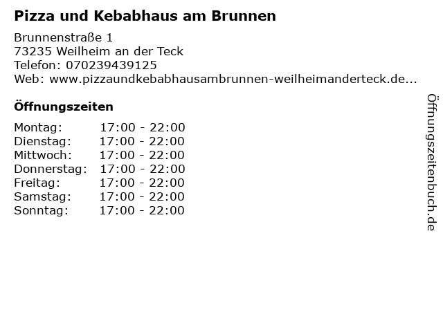 Pizza und Kebabhaus am Brunnen in Weilheim an der Teck: Adresse und Öffnungszeiten