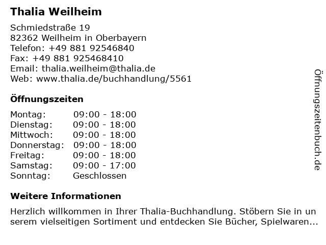 Thalia Weilheim in Weilheim in Oberbayern: Adresse und Öffnungszeiten
