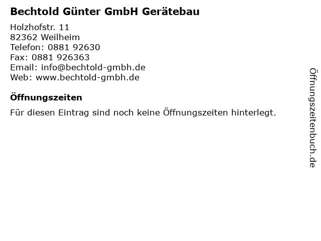 Bechtold Günter GmbH Gerätebau in Weilheim: Adresse und Öffnungszeiten