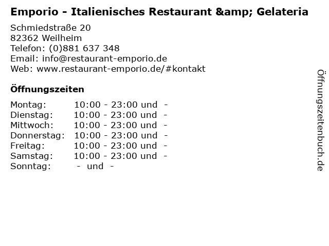 Emporio - Italienisches Restaurant & Gelateria in Weilheim: Adresse und Öffnungszeiten