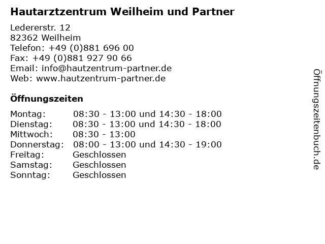 Hautarztzentrum Weilheim und Partner in Weilheim: Adresse und Öffnungszeiten