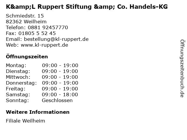 K&L Ruppert Stiftung & Co. Handels-KG in Weilheim: Adresse und Öffnungszeiten