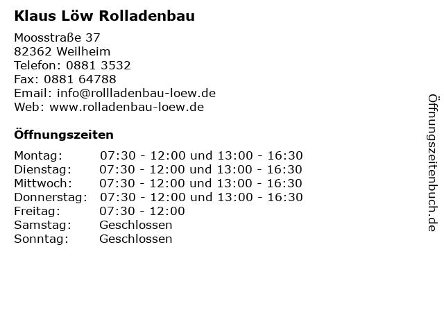Klaus Löw Rolladenbau in Weilheim: Adresse und Öffnungszeiten